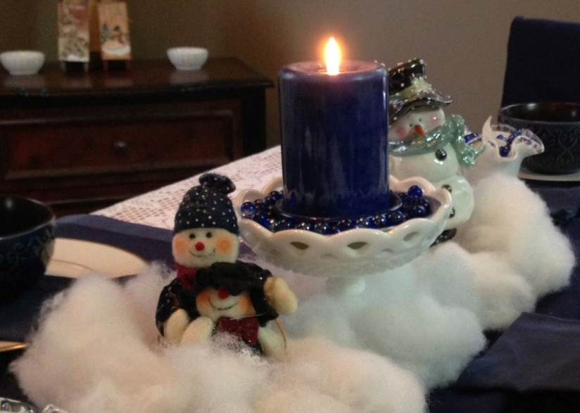 winter tablescape snowmen